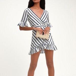 BB Dakota Visual Pursuit Ivory Stripe Ruffle Dress